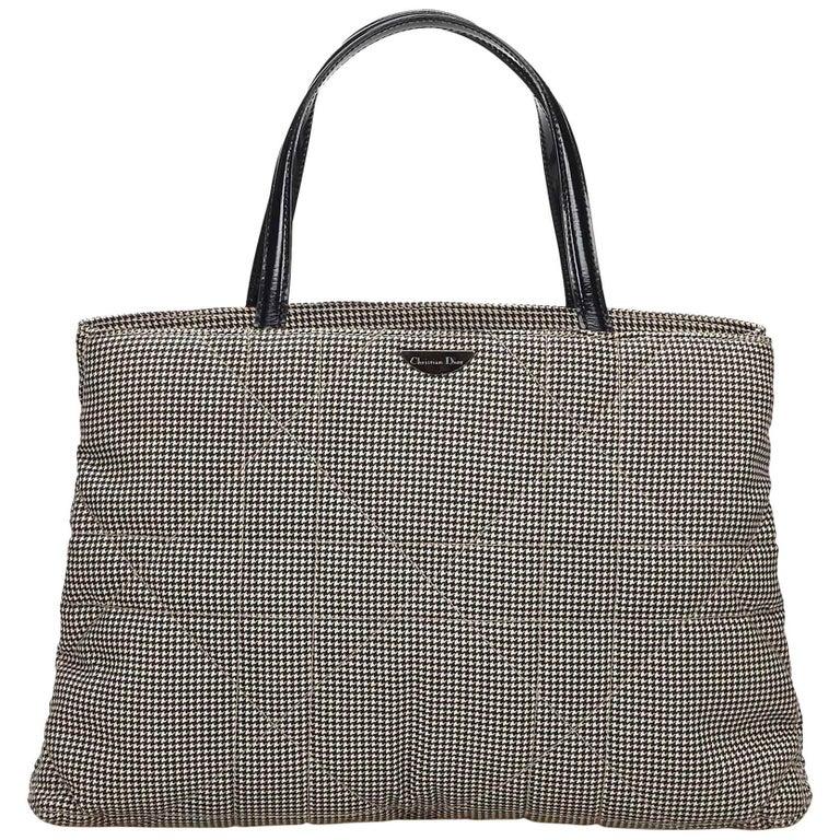DiorBlack x White Cannage Houndstooth Handbag