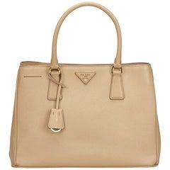 Prada  Beige Leather Saffiano Galleria Handbag