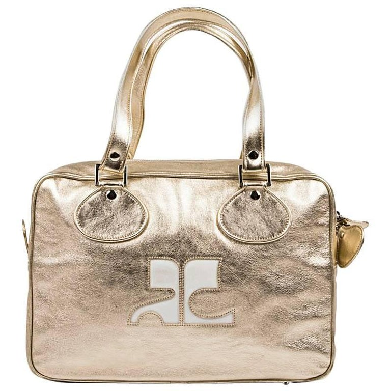 COURRÈGES Bag in Golden Soft Smooth Lambskin Leather