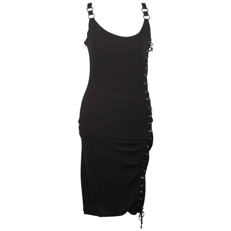 Versace Silk Sleeveless Little Black Dress with Lace Up Detail Size 40