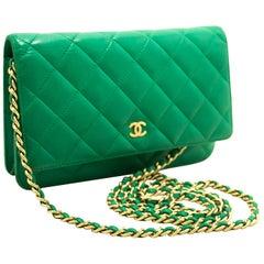 CHANEL Green Wallet On Chain WOC Shoulder Bag Crossbody Clutch