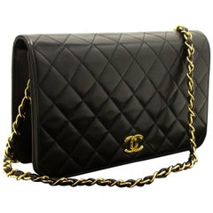 CHANEL Chain Shoulder Bag Clutch Black Quilted Flap Lambskin Purse