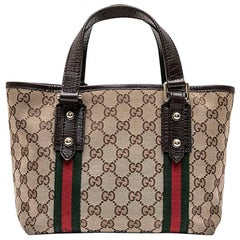 GUCCI Vintage Bag in Brown and Beige Monogram Canvas with Red and Green Stripes