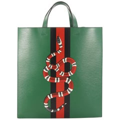 Gucci Web and Snake Convertible Soft Open Tote Printed Leather Tall