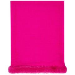 Verheyen London Handwoven Mink Fur Trimmed Cashmere Shawl in Fuchsia Pink