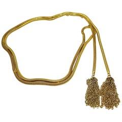 Vintage Signed Dior Snake Link Tassels Belt