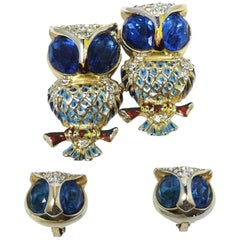FAMOUS Vintage Signed Coro Craft Owl Duette Brooch & Earrings Set