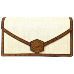 Hermes Vintage Ostrich and beige horsehair Clutch Bag, 1978