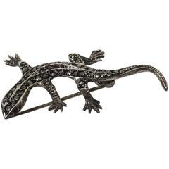 Vintage Sterling Silver & Marcasite Alligator Brooch