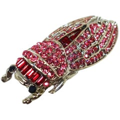 Large Pink & Red Crystal Silver Tone Cicada Brooch