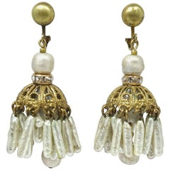 Vintage Miriam Haskell Faux Pearl Dangling Earrings