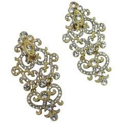 Vintage Signed DeMario Rhinestone Earrings