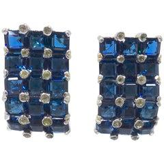 Vintage Signed Jomaz Faux Sapphire Earrings