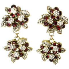 Vintage DeMario Faux Ruby and Clear Rhinestone Floral Drop Earrings