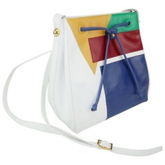 1980's Bruno Magli Bright Color Block Leather Handbag