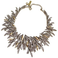 Oscar De La Renta Runway Cascading Crystal Leaf Necklace