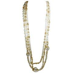 Vintage Signed Louis Feraud Bijoux Triple Strand Faux Pearl Necklace