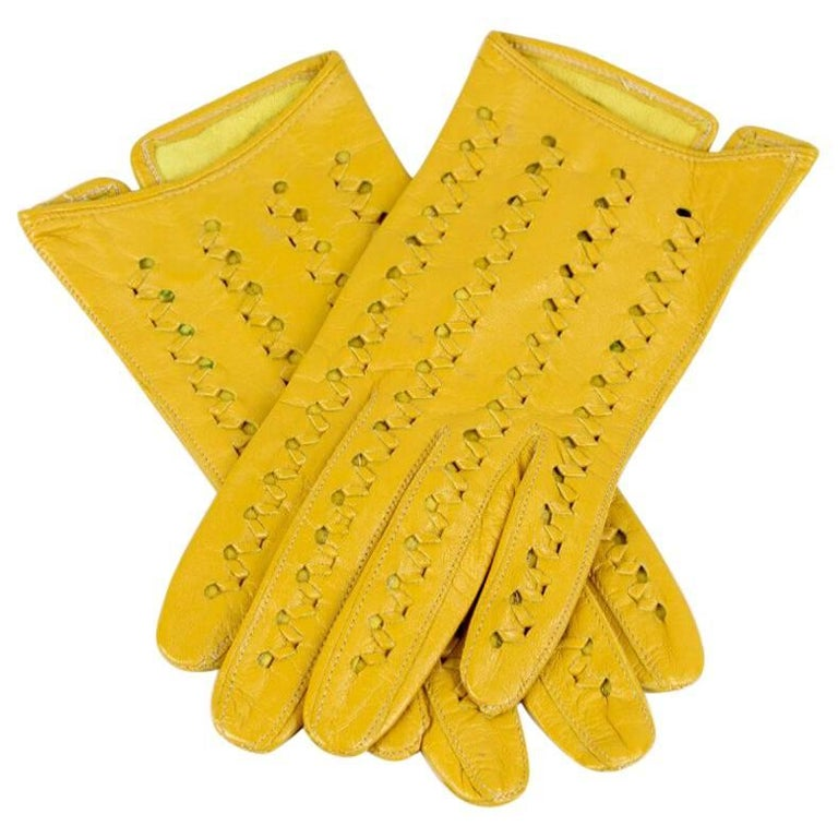 Yellow Punched & Woven Vintage Smooth Leather Gloves