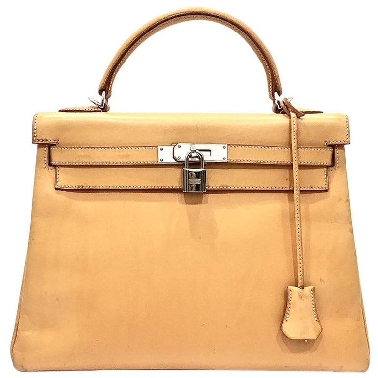 Hermes Naturelle Sable Natural Leather Sac Kelly 32 Bag, 2005 For Sale 8864c99f473