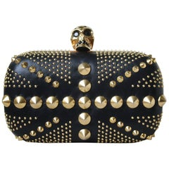 Alexander McQueen Skull Embellished Studded Union Jack Box Clutch