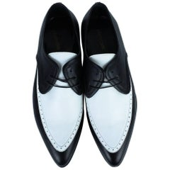 Roberto Cavalli Mens White Pointed Two Tone Leather Lace-up Shoes