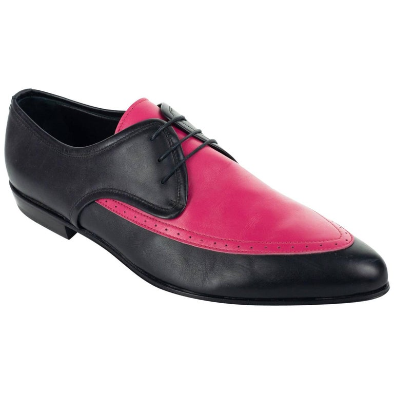 Roberto Cavalli Mens Pink Pointed Two Tone Leather Lace Up Shoes