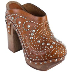 Roberto Cavalli Brown Silver Studded Leather Mule Heels