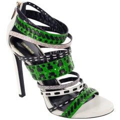 Roberto Cavalli Womens Colorblock Tribal Stitched Sandal Heels