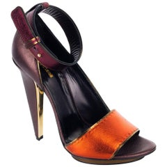 Roberto Cavalli Womens Brown Satin Ankle Strap Pumps