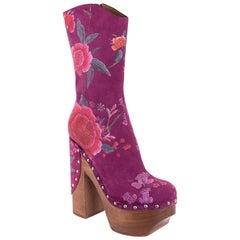 Roberto Cavalli Women's Lavender Purple Floral Clogs Ankle Boots