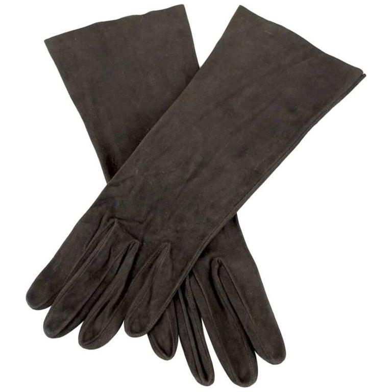 Dark Chocolate Brown Mid-Length Suede Gloves, 1960s