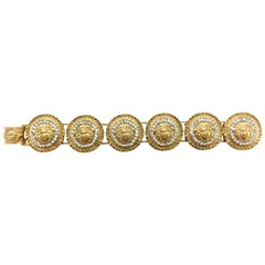 1990's Gianni Versace Gold-Plated Medusa Head with Rhinestones Bracelet