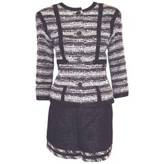 Chanel Navy Cotton Tweed Jacket and Shorts Ensemble