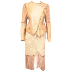 Salvatore Ferragamo Sand Leather Fringed Suit, 2013 Resort Collection