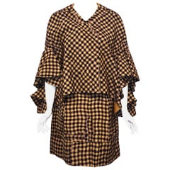 Delpozo Brown & Yellow Silk Blend Check Print Exaggerated Sleeve Jacket w/ Skirt