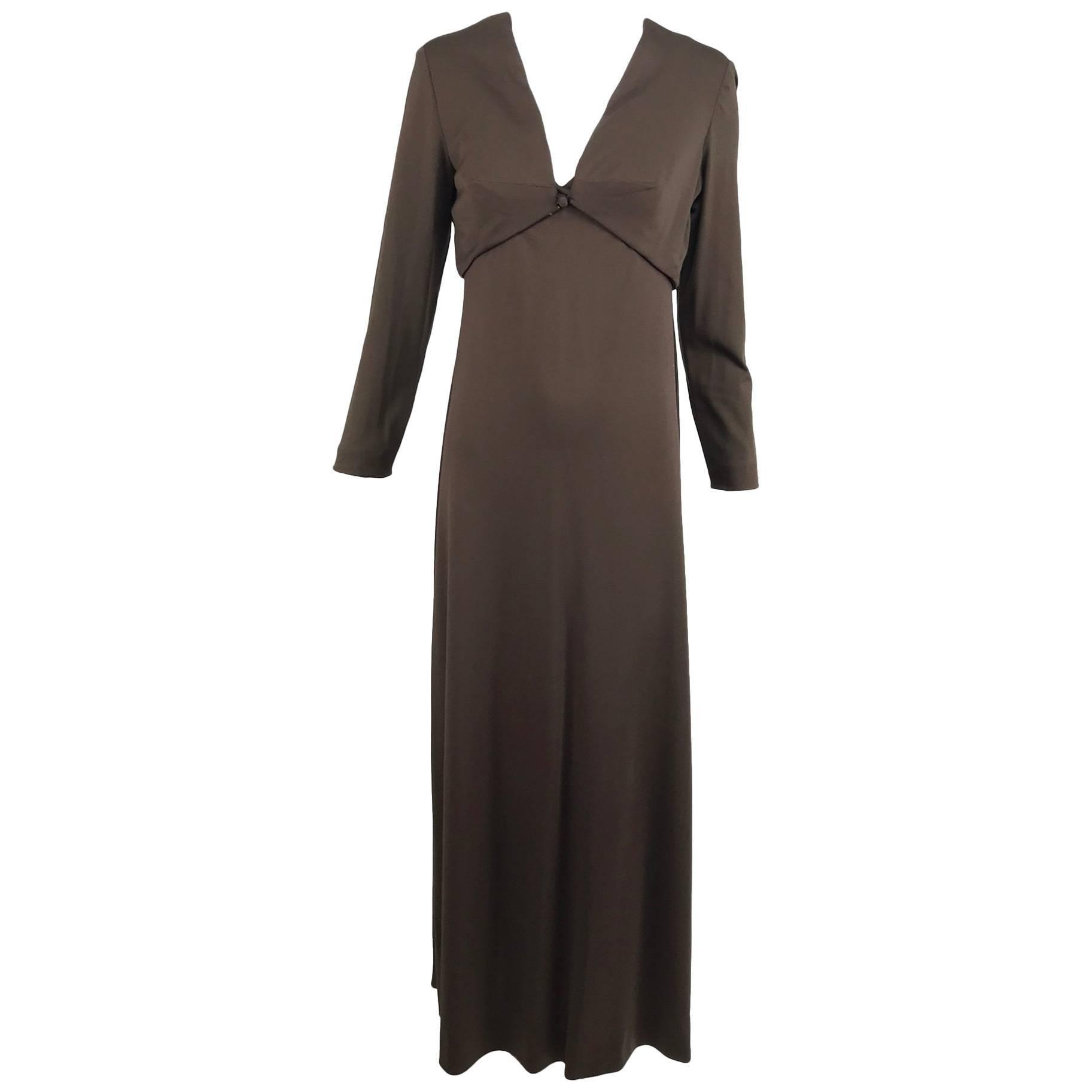 Estevez chocolate brown jersey maxi dress and jacket, 1970s