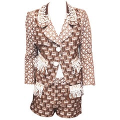 Louis Vuitton Three Piece Suit with Jacket, Shorts and Dress Sequined Decorated