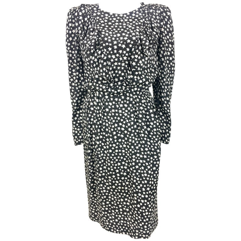 1980's Yves Saint Laurent Star-Print Long Sleeve Silk Dress