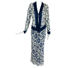 Vivienne Tam blue and white mesh top and flare maxi skirt