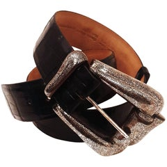 Patricia Von Musulin Striking Alligator Belt & Sterling Silver Coco Bolo Wood