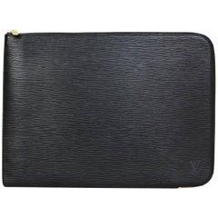 Louis Vuitton Black Epi Poche Documents Portfolio