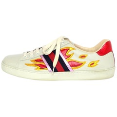 Gucci Men's Ace Off White Leather Flame Sneakers Sz 10 with DB