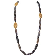 Old Tibet Dzi Agate Beads and Gilt Silver Statement Necklace