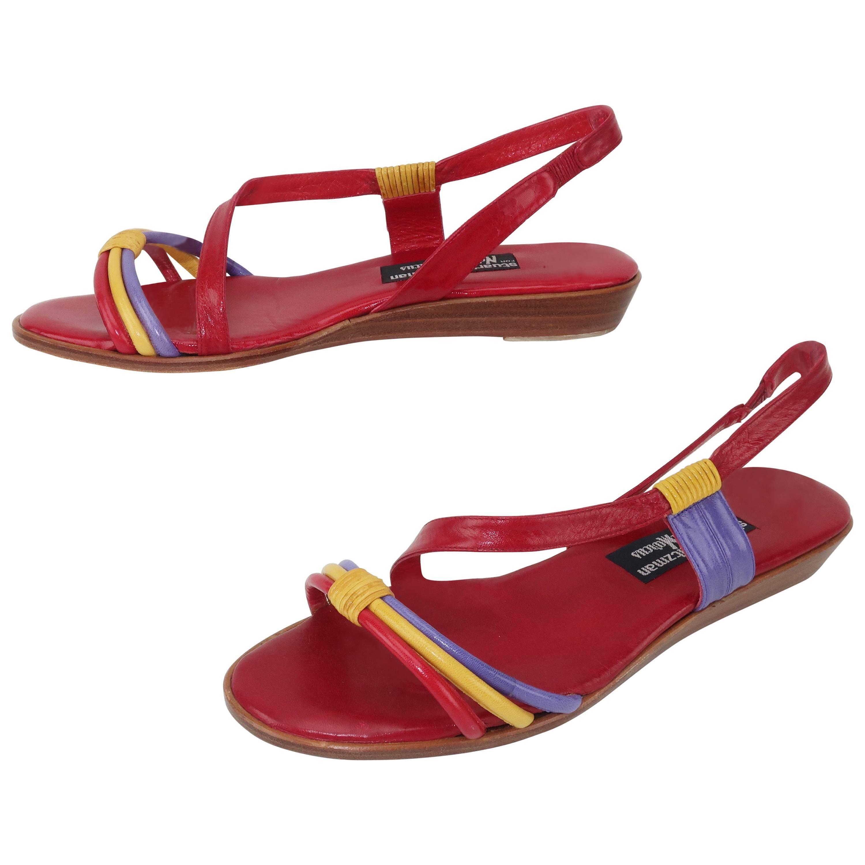 Stuart Weitzman Multi Color Leather Sandals