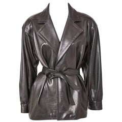 Yves Saint Laurent Black Leather Belted Jacket
