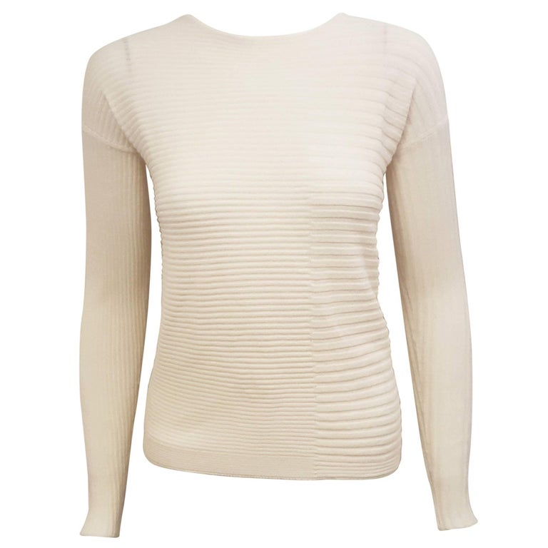 Loro Piana Ivory Cashmere and Silk Long Sleeve Pullover Sweater For Sale
