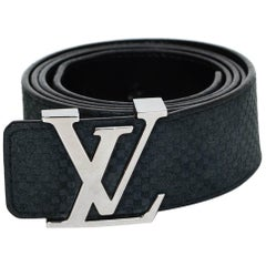 Louis Vuitton Carbone Black Suede Mini Damier LV Initials Belt Sz 100