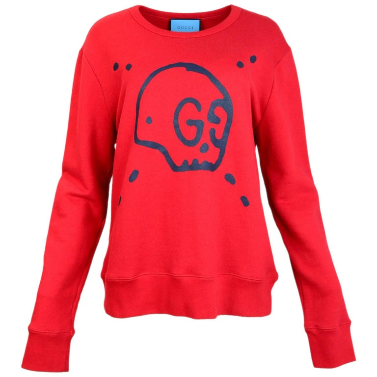 255b398bd Gucci Men's Red GucciGhost Sweatshirt Sz L For Sale at 1stdibs