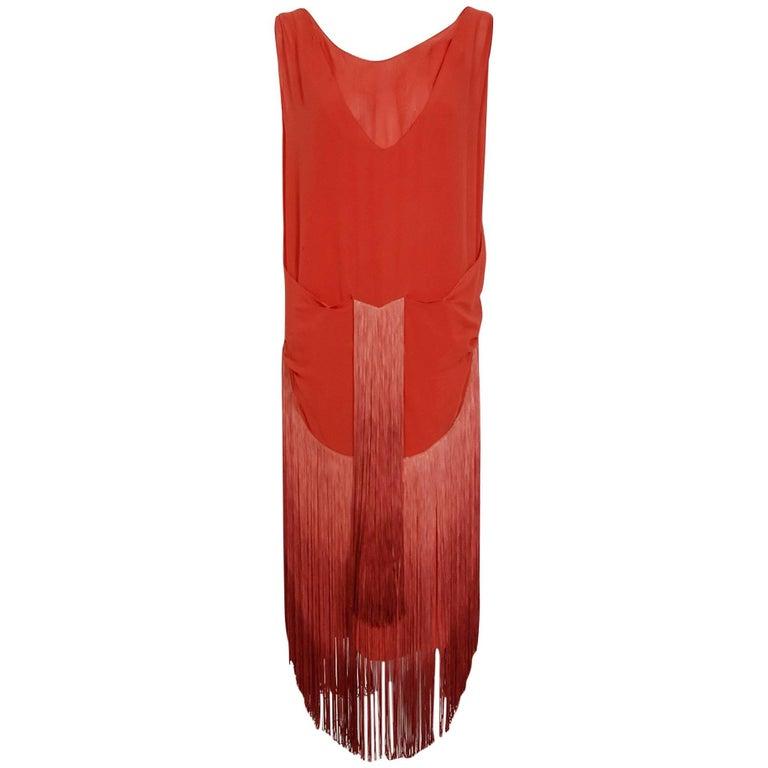 1920's Cinnamon Silk-Chiffon Sculpted Ombre Fringe Sleeveless Flapper Dress