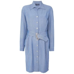Thierry Mugler Blue Chambray Linen Dress